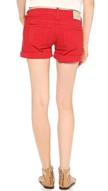 True Religion Cassie Mid Rise Rolled Shorts