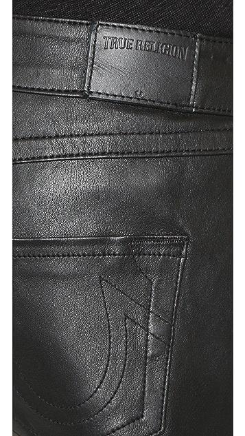 True Religion Stretch Leather Joey Shorts