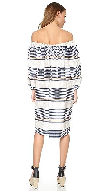 Tanya Taylor Textured Sunset Stripe Brianna Dress