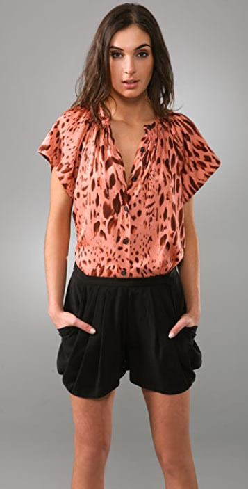 Tucker Smocked Collar Blouse with Short Sleeves