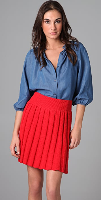 Tucker Chambray Smocked Collar Blouse