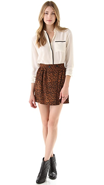 Tucker Button Wrap Miniskirt