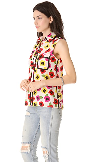 Tucker Sleeveless Combo Blouse