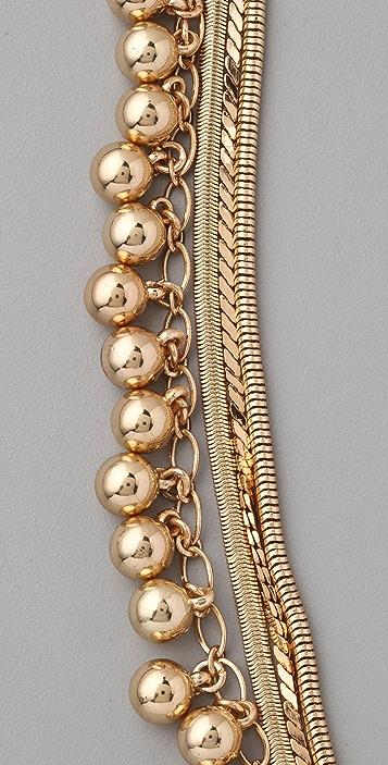 Tuleste Snake Chain Pom Pom Necklace