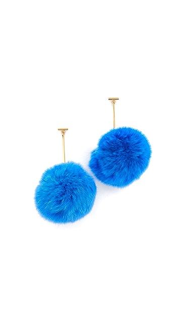 Tuleste Pom Pom Long T Drop Earrings