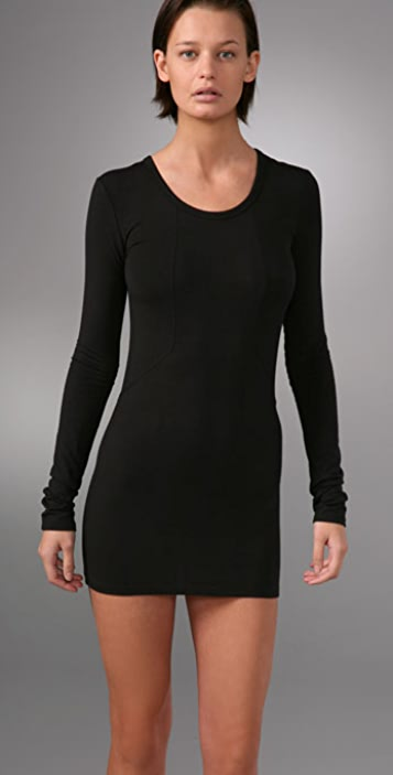 T by Alexander Wang Detail Stitch Stretch Dress with Long Sleeves