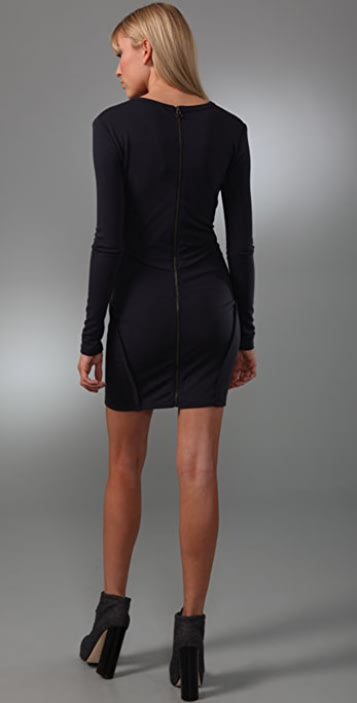 T by Alexander Wang Ponte Zip Long Sleeve Dress