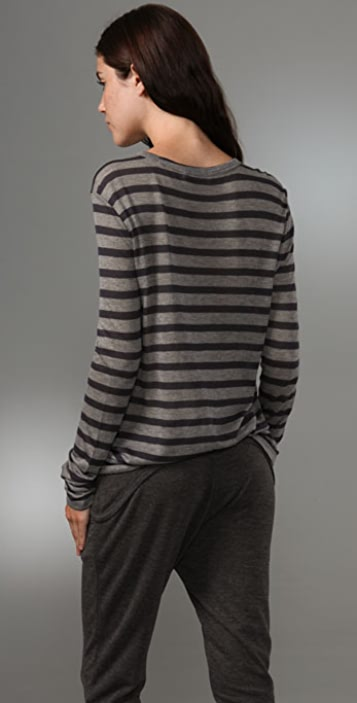 T by Alexander Wang Striped Classic Tee with Pocket