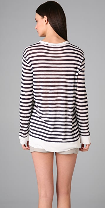 T by Alexander Wang Striped Baggy Sweater