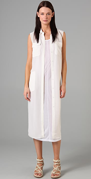 alexanderwang.t Silk Chiffon Shirtdress with Pockets