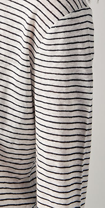 T by Alexander Wang Linen Stripe Jersey Long Sleeve Tee