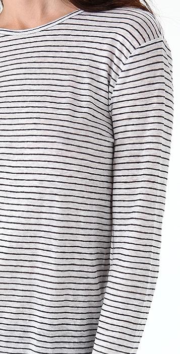 T by Alexander Wang Linen Striped Long Sleeve Tee