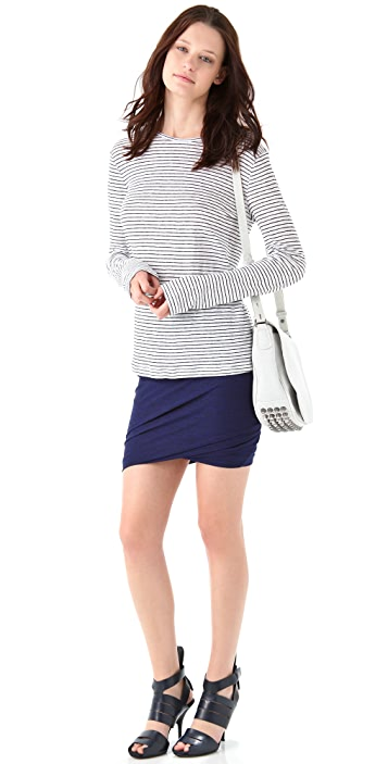 T by Alexander Wang Marled Jersey Twist Skirt
