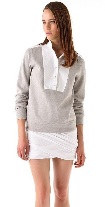 T by Alexander Wang Pique Oxford Placket Sweatshirt