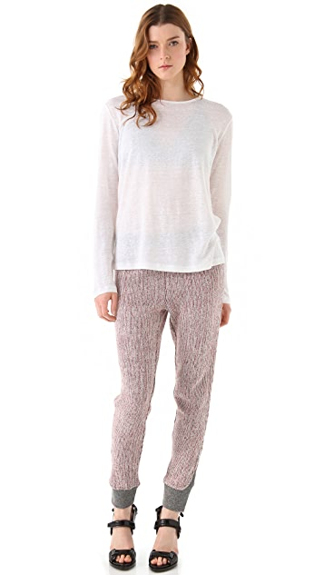 T by Alexander Wang Linen Silk Jersey Long Sleeve Sweater