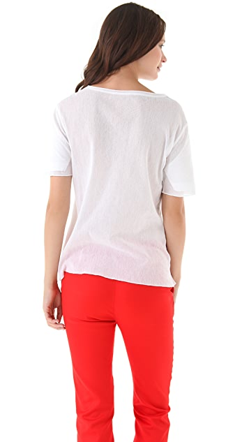 T by Alexander Wang Mesh Combo Short Sleeve Tee