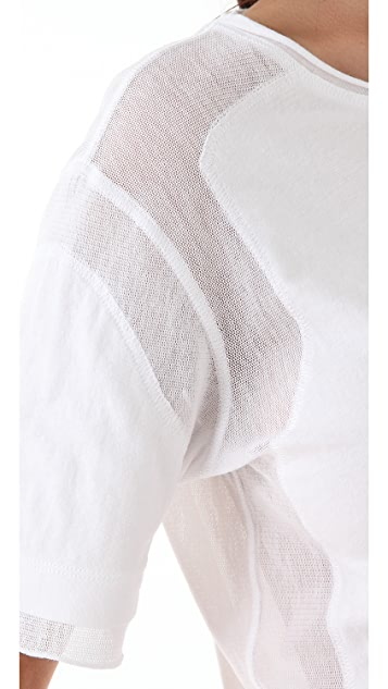 T by Alexander Wang Mesh Combo Short Sleeve Tee
