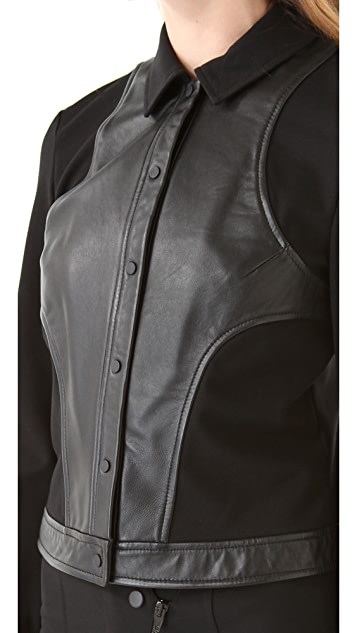 T by Alexander Wang Ponte & Leather Combo Cropped Jacket