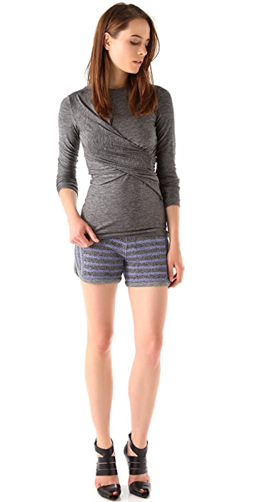 T by Alexander Wang Marled Jersey Twist Top