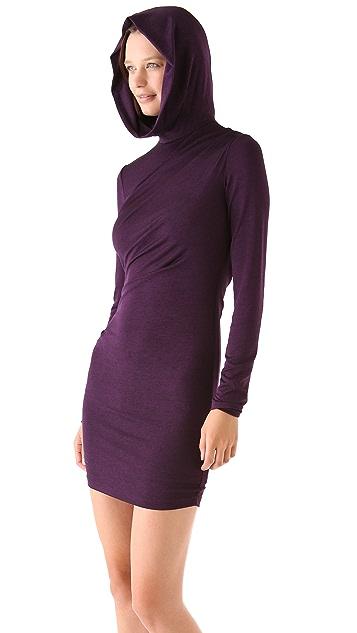 T by Alexander Wang Hooded Long Sleeve Drape Dress