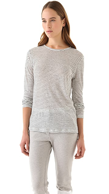 T by Alexander Wang Linen Stripe Tee with Long Sleeves