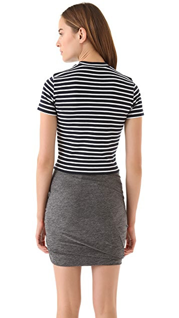 T by Alexander Wang Striped Shrunken Tee