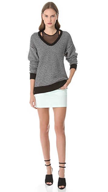 T by Alexander Wang Checkered Float Tunic Sweater