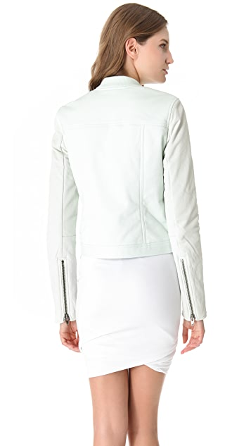 T by Alexander Wang Leather Sleeve Jean Jacket