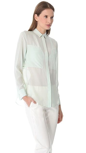 T by Alexander Wang Silk Chiffon Combo Shirt