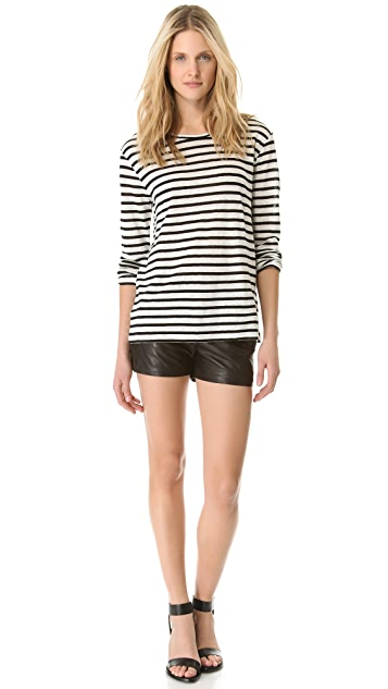 T by Alexander Wang Linen Stripe Long Sleeve Tee