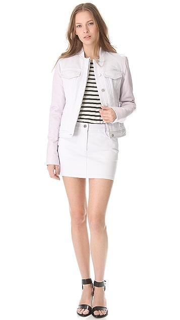 T by Alexander Wang Leather Yoke Twill Miniskirt