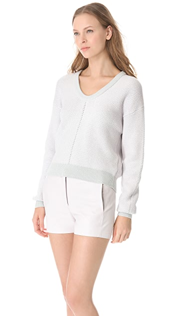 T by Alexander Wang Herringbone Knit Sweater