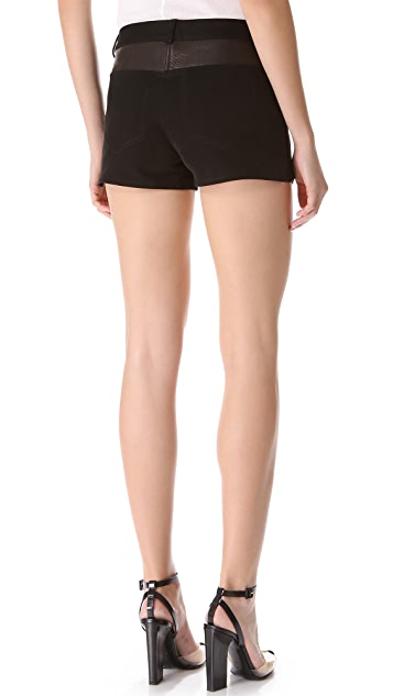 T by Alexander Wang Twill Shorts with Leather Yoke