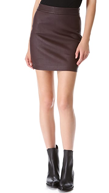 T by Alexander Wang High Waisted Leather Skirt
