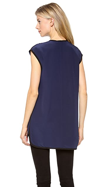 T by Alexander Wang Silk V Neck Blouse