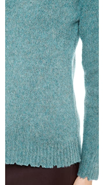T by Alexander Wang Distressed Wool Crew Neck Pullover