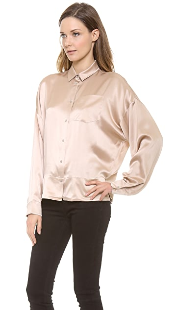 T by Alexander Wang Silk Satin Dolman Collared Shirt