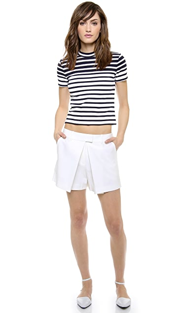 T by Alexander Wang Engineered Rib Cropped Tee