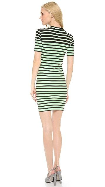 T by Alexander Wang Engineer Stripe Short Sleeve Dress