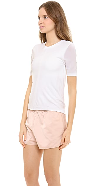 T by Alexander Wang Matte Jersey Back Cowl Short Sleeve Tee