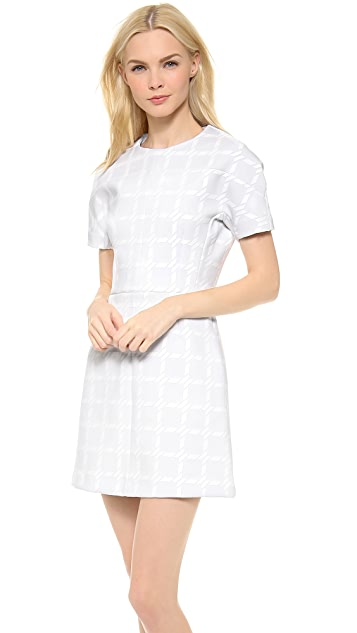 T by Alexander Wang Grid Gel Print Neoprene Shortsleeve Dress