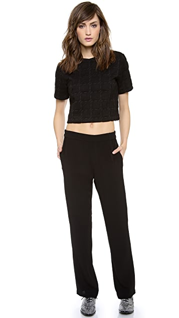 T by Alexander Wang Grid Jacquard Neoprene Top