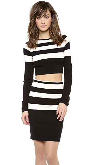 T by Alexander Wang Striped Long Sleeve Cropped Sweater