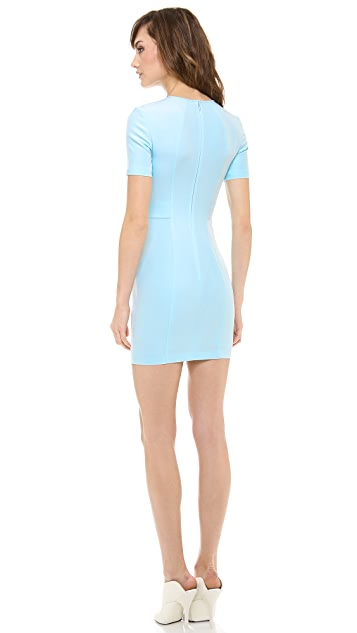 T by Alexander Wang Tech Suiting Short Sleeve Fitted Dress