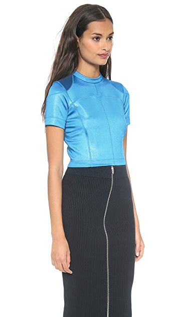 T by Alexander Wang Mock Neck Scuba Tee