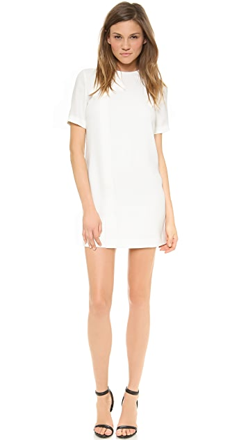 T by Alexander Wang Draped Suiting Short Sleeve Dress
