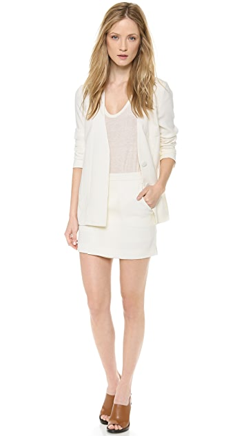 T by Alexander Wang Draped Suiting Front Slit Skirt