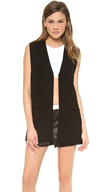 T by Alexander Wang Draped Suiting Jean Stitch Long Vest