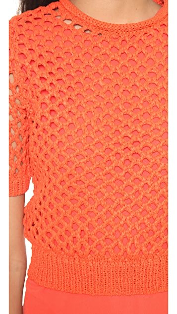 T by Alexander Wang Open Knit Short Sleeve Pullover
