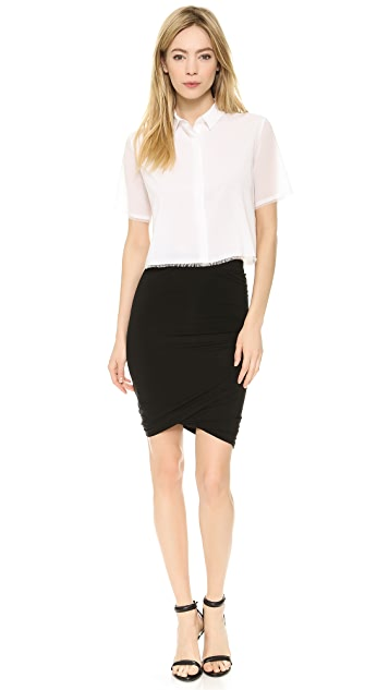 T by Alexander Wang Lightweight Frayed Crop Top